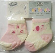 NEUF Paquet de 2 bébé filles anti-dérapant chaussettes 0-6 mois blanc rose