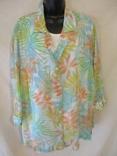 Cathy Daniels 3/4 Slve Plus 2X Casual Polyester Camp shirt W/Tank SR$56 NEW