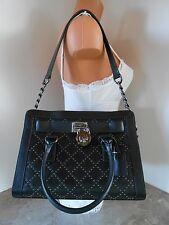 New MICHAEL KORS Microstud HAMILTON Quilted Leather EW Satchel NWT $398 BLACK