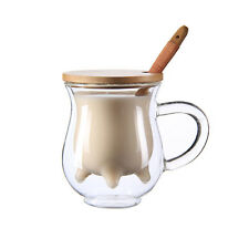 Double Wall Clear Glass Wood Spoon & Lid Coffee Cup Mug Milk Cow Breast Design