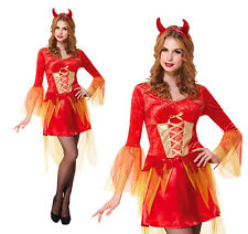 Onorevoli DEVIL da nubile Costume Demone Halloween Da Donna Costume Vestito UK 10-14