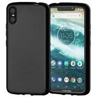 Dünn Slim Cover Motorola One Handy Hülle Silikon Case Schutz Tasche Schwarz
