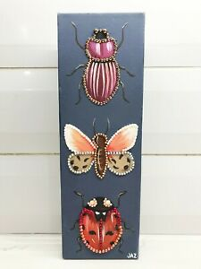 """Glitter Bugs VI"" Original Painting Canvas Bling Insect Beetle Art Jaz Higgins"