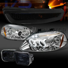Fit 96-98 Civic Chrome Halo LED Projector Headlights+Smoke Fog Lamps+T-R Grille