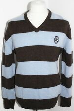 HACKETT Mens 100% Lambswool Blue Striped Jumper Size Medium
