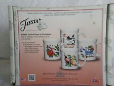 Fiesta Twelve Days of Christmas Set of 4 Mugs 1st Series White