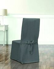 Sure Fit Designer essential Twill dining chair Slipcover smoke gray slip cover