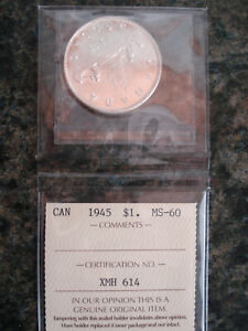 1945 CANADIAN SILVER DOLLAR / ICCS MS-60