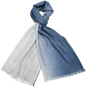 Loro Piana Galway Scarf Cashmere Blend Blue Gray Ombre 04SF0113 $1045