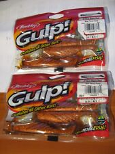 "2 Packs Berkley Gulp Scented Fishing Baits 4"" Ripple Shad New Penny GRS4-NPFL"