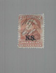 Canada Nova Scotia Bill Stamps 7c Orange #NSB8 $60