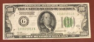 1928A $100 Redeemable In Gold Federal Reserve Green Seal Chicago FR 2151 G
