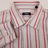 HUGO BOSS Men's Dress Shirt Size 16.5 34 Striped Gray Red