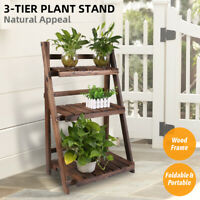 Wood Plant Stand Indoor Outdoor Carbonized Folding 3 Tiered Corner Plant Rack US
