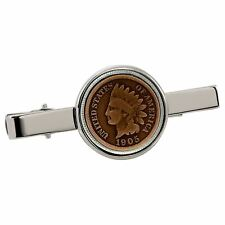 New Smithsonian Institution Indian Penny Silvertone Coin Tie Clip 30127