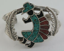 Vintage Sterling Silver & Mosaic Chip Inlay Rainbow Man Cuff Bracelet