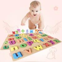 Wooden Puzzle Letters Toy Toddler Kids Baby Alphabet Early Educational Toy Gift
