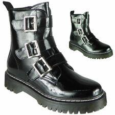Señoras para mujer tipo Grueso Hebilla Gótico Punk Cremallera Brillante Zapatos De Plataforma Botas Talla