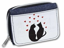 Two Cat Silhouette with Hearts Girls/Ladies Denim Purse Wallet Christm, AC-143JW