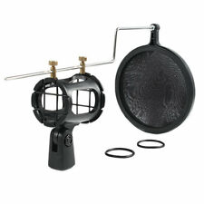 Mic Microphone Shock Mount Stand Holder with Integrated Pop Filter Black Kit New