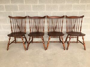 ETHAN ALLEN EARLY AMERICAN CHERRY WINDSOR BRACE BACK SIDE CHAIRS - SET OF 4
