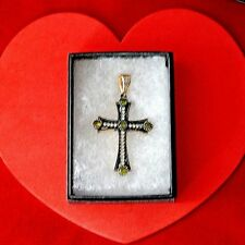 NICE CROSS WITH YELLOW & WHITE TOPAZ 925 SILVER & BRONZE 8GR. 6X3.5 WIDE IN BOX