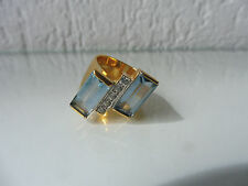 Bonito, edad anillo __ 925 plata dorado __ con pulidos piedras __ Aquamarin