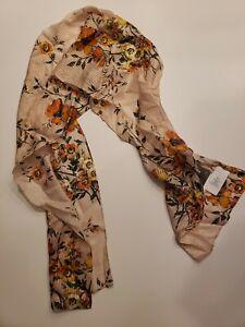 "Echo New York Design Nomadic Floral  Silk Oblong Scarf, Oatmeal, 10"" x 60"""