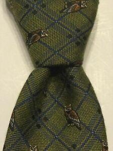 STAFFORD Men's Polyester/Rayon Necktie Designer ANIMAL OWLS Green/Blue NWT $34