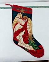 "Vtg Imperial Elegance 18"" Needlepoint Christmas Angel Star Stocking ~ Ships FREE"