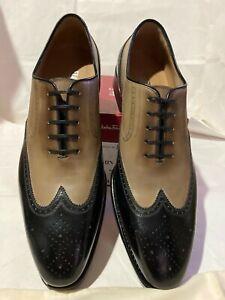 Salvatore Ferragamo Men Leather  Shoes'FERMIN' Size-10B TRAMEZZA LAVORAZIONE