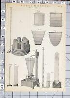 1886 Stampa Naturale Filosofia Hydrostatics Vari Diagrammi