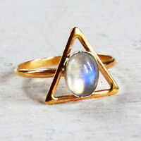 AAA Rainbow Moonstone 14K Solid Yellow Gold Birthstone Ring Size 6, Free Sizing