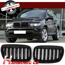 Fits BMW X5 E53 LCI 2004-2006 Front Hood Kidney Sports Grills Shiny Black ABS