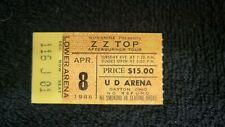 Zz Top 1986 Concert Ticket Stub - Ud Arena - Dayton Oh