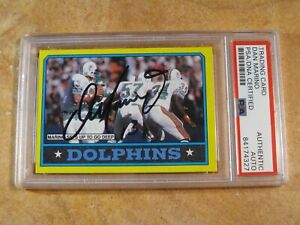 DAN MARINO (HOF) 1986 TOPPS GOES DEEP SIGNED AUTOGRAPHED CARD #44 DOLPHINS PSA