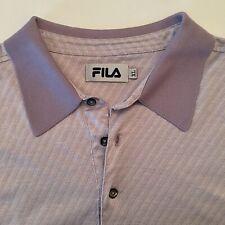 77cc60899 Fila Polo Golf Shirt Sz XL Pale Purple Striped SS Mens Polo Sleeve Logo