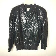 Vintage Bomber Jacket Sequin Black Medium Silk Zipper
