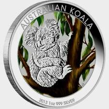 Australian Koala 2013 1oz .999 Silver Coloured Coin in Card  Perth Mint