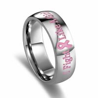 Pink Ribbon Breast Cancer Awareness Stainless Steel Ring Band 6mm 7-10