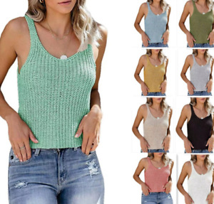 Women Summer Knitted Sweater Tank Top Sexy Casual Camisole Sleeveless Vest Shirt