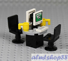 LEGO - Office Pod w/ 2 Computer Monitors - Minifigure Desktop Screen Desk Chair
