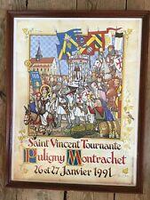 Ancienne Affiche Saint Vincent Tournante Vin Bourgogne PULIGNY MONTRACHET 1991