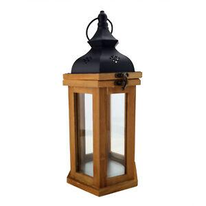 Laterne Braun 6-Eckig Holz Kerzenständer Windlicht Holzlaterne Landhausstil Deko