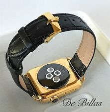 24K Gold Plated 42MM Apple Watch with Black Alligator Band ROLEX Buckle