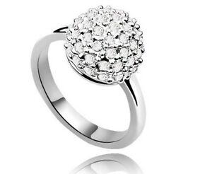 Q large size Rhinestones Ball Silver Pink Purple Aqua Blue White Finger ring