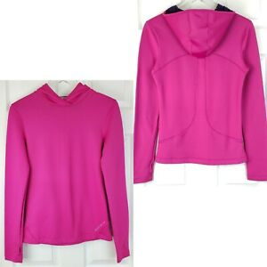 Under armour fitted coldgear hot pink cold hands hoodie thumbholes womens Size M