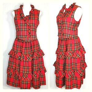 Vtg Blassport Neiman Marcus Skirt & Top Set Plaid Pockets Wool Medium Red Black