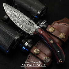 ALONZO USA CUSTOM HANDMADE DAMASCUS HUNTING  SKINNER KNIFE MICARTA HANDLE 15944