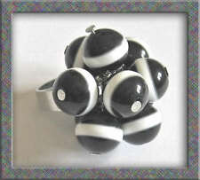 Funky Bead Cluster Ring Adjustable Black With White Stripe